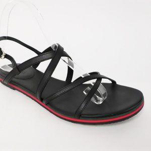 Gucci Crisscross Sandal Black Leather Size 38.5